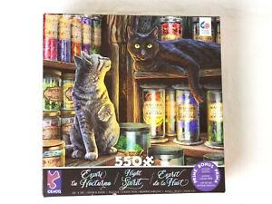 Ceaco 550 Piece Puzzle NIGHT SPIRIT Lisa Parker APOTHECARY CATS Tabby black cat