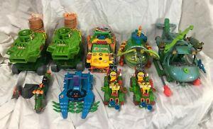 Teenage Mutant Ninja Turtles 9 VEHICLES LOT TMNT Pizza Thrower Toilet Taxi MORE!