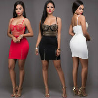 Sexy Women Lace Bandage Bodycon Evening Party Cocktail Short Club Mini Dress