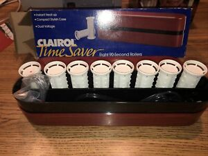 New Clairol Time Saver Hot Rollers Curls w/Clips Dual Voltage Travel Style PTC 8