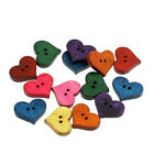 DIY 50-100 Mixed Wood Sewing Buttons Scrapbooking Painted Lovely Heart Shape