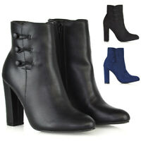 Womens High Heel Ankle Boots Ladies Zip Button Smart Shoes Booties Size 3-8
