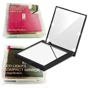 Make Up Mirror LED Lights Compact Handbag Mini Pocket Double 2X Magnification