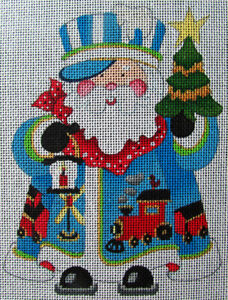 HP Needlepoint 18ct STRICTLY CHRISTMAS Train Conductor Santa Claus-HV38