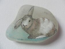 Floppy eared rabbit miniature painting on sea glass - hand painted animal pets