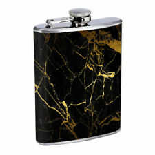 Gold Marble Em1 Flask 8oz Stainless Steel Hip Drinking Whiskey