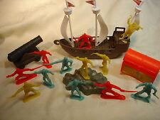 10 Piraten Plastik Schiff Kanone Schatztruhe  plus Piraten - Fahne  OVP NEU