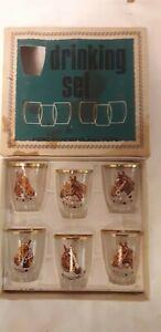 6 x Vintage Grand National Shot Glasses Rare boxed retro gift winning horses vgc