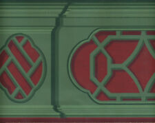 Victorian Architectural Red and Green   WALLPAPER BORDER
