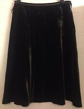 M&S Per Una Luxury Brown Velvet Silk Viscose Fit n Flare A-Line Skirt 10 28 S