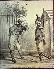 CHAM Lithographie Le Charivari Caricature XIXe Etranger et fusil Chassepot