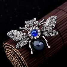 Art Deco Vintage Inspired Silver Blue Bee Brooch Brooche Insect Quality UK