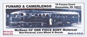 FUNARO F&C 703 MCKEEN 55' MOTORCAR COACH STREETCAR TROLLEY 1-PC BODY W/ TRUCKS