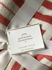 Pottery Barn Greek Key Oversized Throw 55x80 Coral Color