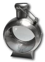 Metal Lantern Storm Light Antique Silver Vintage Design Porthole Glass NEW