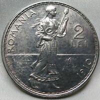 ROMANIA 2 lei 1910 XF/AU Silver Carol I. #B84