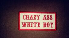 Crazy Ass White Boy Red & White support 81 Name Tape 1%er Patch Biker
