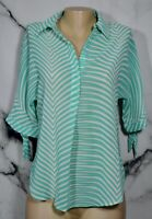 ANTILIA FEMME Sheer Green White Striped Top Small Short Sleeves Unlined