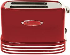 Retro Red Toaster, Vintage '50s Style 2-Slice Wide Slots, 5 Settings, Crumb Tray