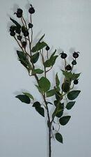 Heckenrose mit Früchte grün/schwarz 80cm Zweige Kunstblumen Dekoration