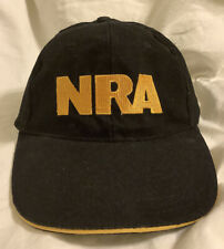 NRA Dark Black & Gold Hat Cap Adjustable Embroidered USA Flag & Logo