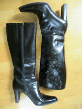 VIA SPIGA Women's Black Leather Knee High Tall Heel Boots Size 8 M