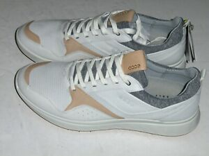 ECCO MEN'S SPIKELESS S-CASUAL SIZE 11 WHITE HYDROMAX LEATHER GOLF SHOES
