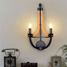 Vintage Industrial Iron Hemp Rope Wall Sconce Farmhouse Cafe Wall Light Fixture