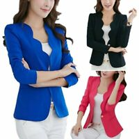 Fashion Womens Pure Slim Suit Jacket Coat Casual  One Button Tops Blazer Outwear