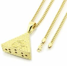 "Men's 14k Gold Plated Eye of Horus Egypt Pyramid Pendant Hip-Hop 30"" Cuban Chain"