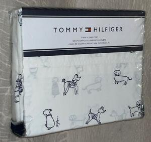 Tommy Hilfiger TWIN XL White Scribble Dog Sheet Set NEW ⭐️