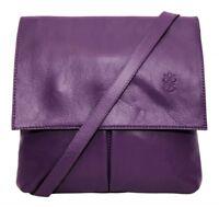 Handbag Ladies Italian Leather Purple Vera Pelle Womens Crossbody Messenger Bag