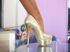 BUFFALO HIGH HEELS PUMPS PLATEAU in GR. 40 GOLD mit SPIKES PLATFORM 14 cm NEU
