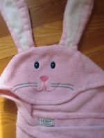 L L Bean fleece hooded pink BUNNY BLANKET kid baby robe rabbit easter hoodie ll