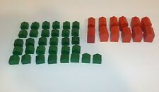 Deluxe Edition Monopoly 12 Red Wooden Hotels 32 Green Wooden Houses C3
