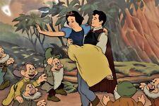 Disney Snow White and the Seven Dwarfs 50th Anniversary Cel PRINCE FREES SNOW W