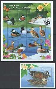 N0213 ANTIGUA & BARBUDA FAUNA BIRDS DUCKS #2184-95 MICHEL 17,5 EURO 1BL+1SH MNH