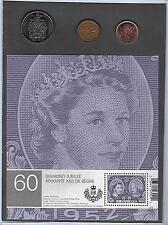 Diamond Jubilee 2 dollar Mint Stamp Sheet, 50 cent Coin, 2 Cdn. 1 cent Coins