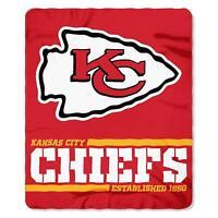 """New NFL Kansas City Chiefs Split Wide Soft Fleece Throw Blanket 50"""" X 60"""""""
