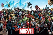 Marvel comics Universe Hulk Iron Man Spider-Man Poster Print Wall Art Large Maxi