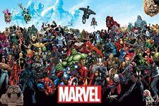 Universo Marvel Comics Hulk Iron Man Spider-Man cartel Impresión Pared Arte Grande Maxi