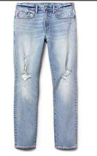 NWT Gap Cone Denim Distressed Jeans, Slim Fit with GapFlex, Light Indigo, 34x34