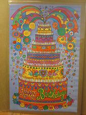 Vintage Happy Birthday original celebration cake poster 9977