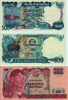 Vintage Group Lot 3 Unc Banknotes Indonesia Rupiah 1968-1988 Pick 108 121 123