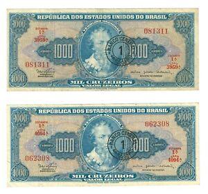 2 X BRAZIL 1 Cruzeiro novo on 1000 Cruzeiros P187a - VF banknote