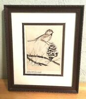 Vintage Etching Art Bird Perched on Pinecone artist Edwin M Gerould Framed