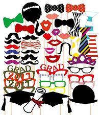 46PCS 2017 Graduation Party Masks Photo Booth Props Mustache On Stick Grad Party