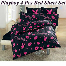 NEW PLAYBOY BLACK PINK DOUBLE SIZE 100% COTTON 4PCS BED SHEET SET - FREE POST