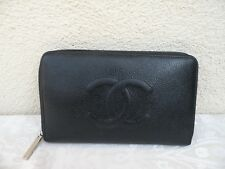CHANEL CAVIAR LEATHER TRAVEL ZIP WALLET BLACK