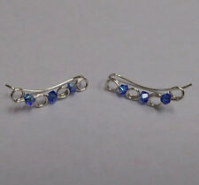 NEW Sterling Silver Ear Climber Earrings with Swarovski Crystals in Sapphire AB